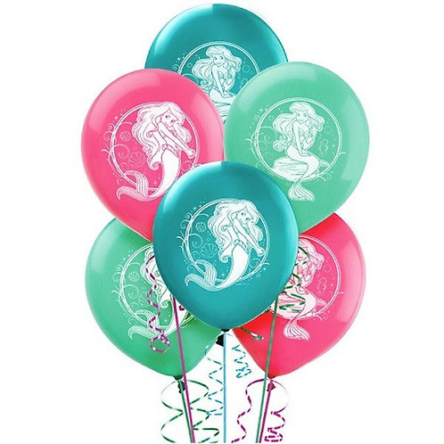 Disney Ariel Little Mermaid party balloons pk 6
