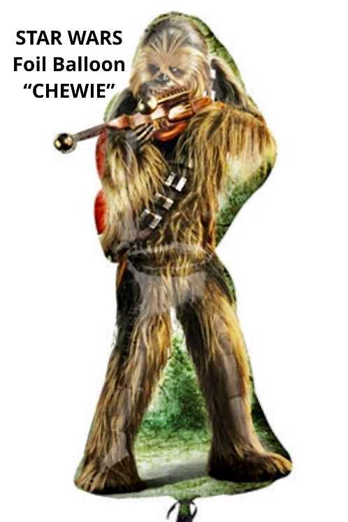 Star Wars Chewbacca foil balloon uninflated Chewie character supershape party balloon fill with helium or air