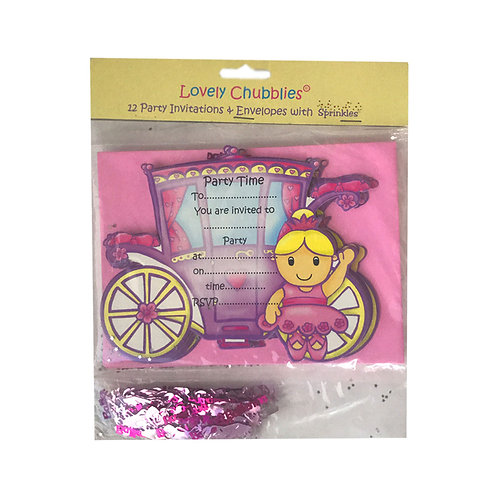 Lovely Chubblies ballerina invitations with confetti pack 12