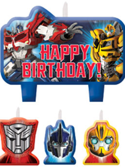 Transformer birthday cake candles set of 4 with Happy Birthday message