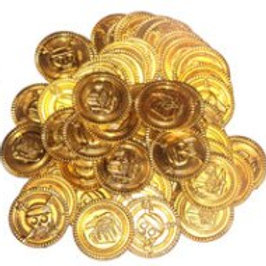 Gold Coins bag plastic gold coins treasure