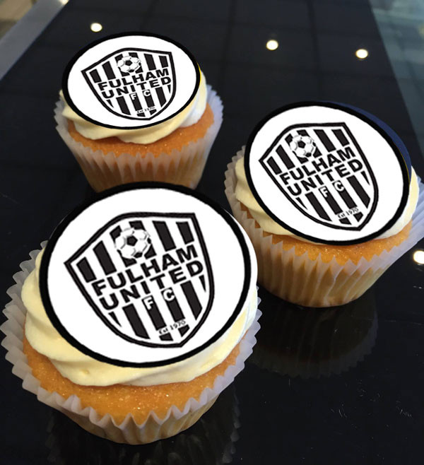 Edible Icing cupcake toppers printed with any Sports Team logo (with permission of course) just text our mobile or email through an .jpg image
