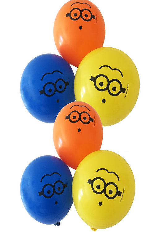 Minions party balloons pack 6 uninflated | 24-7 Party Paks