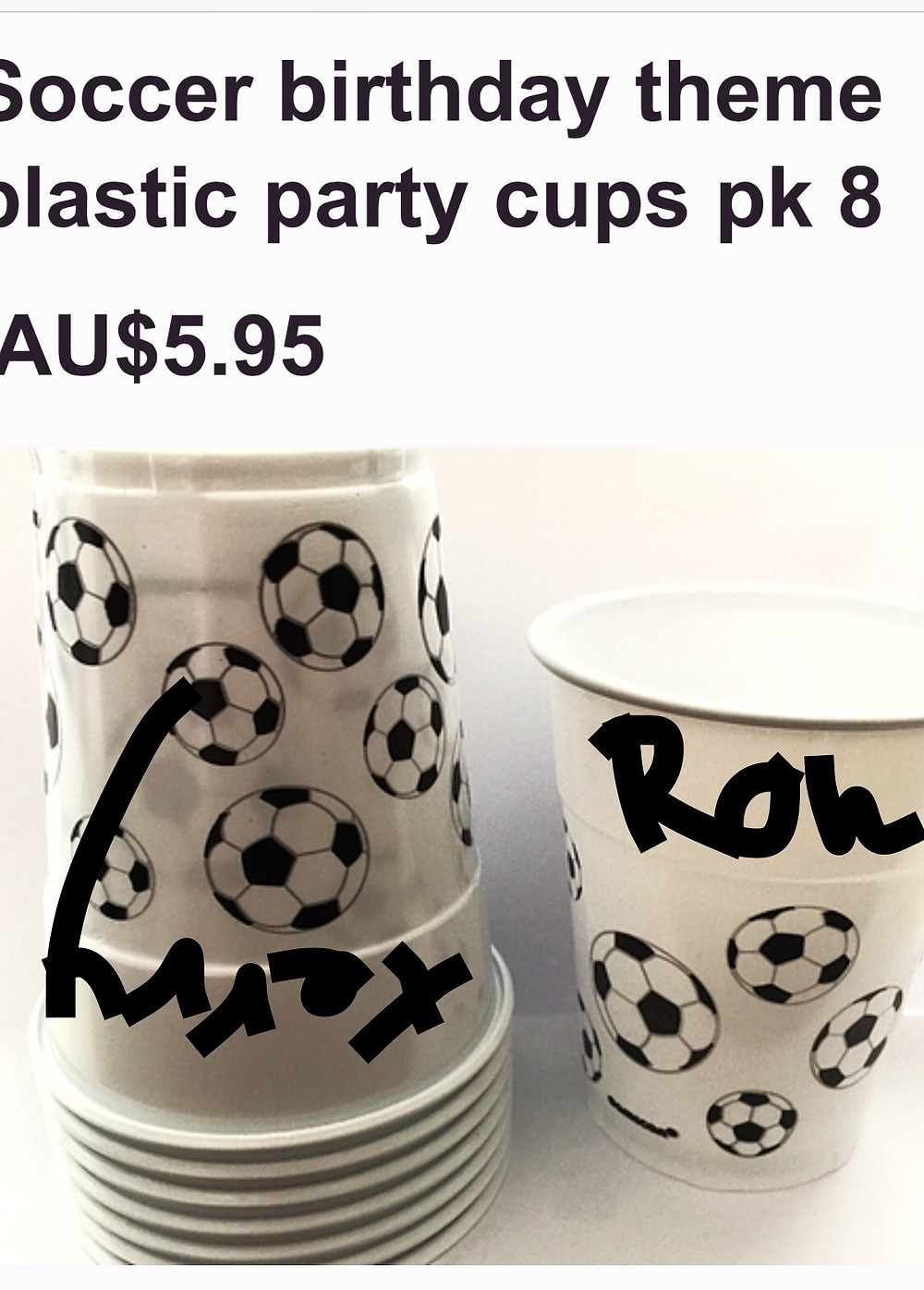 Soccer themed party cups or kids favors cups