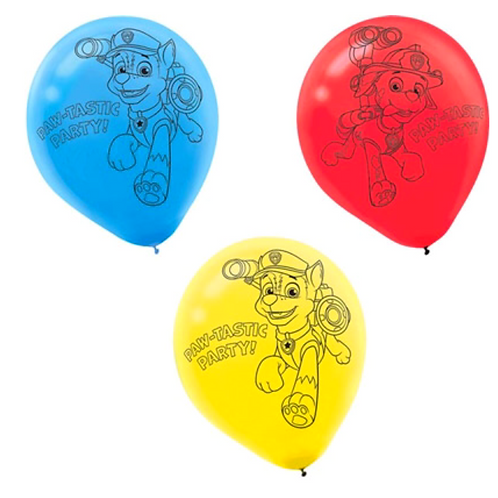Paw Patrol party balloons pack 6 uninflated