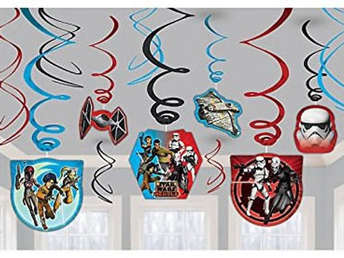 Star Wars party decoration swirls 12 pieces