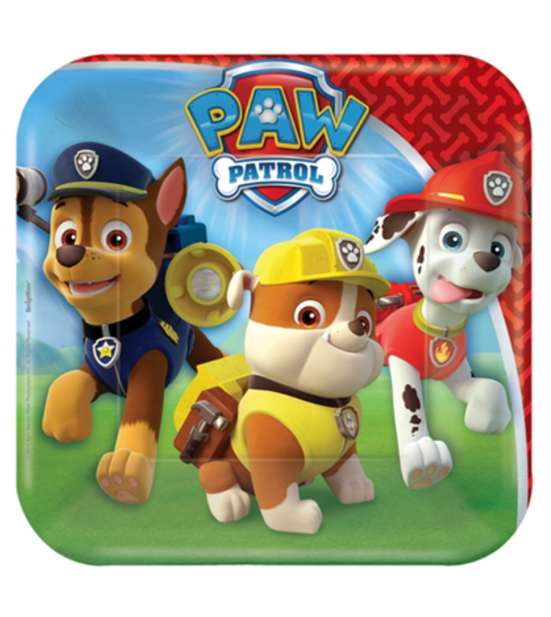 Paw Patrol party plates square snack size