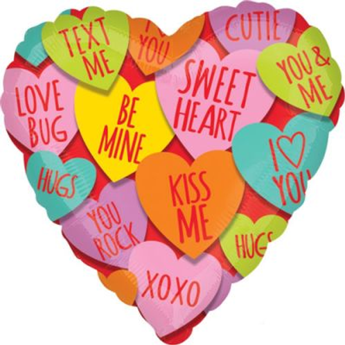 Valentines Day heart shaped foil balloon 46 cm uninflated just fill with air or helium