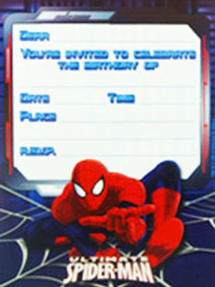 Spiderman Ultimate birthday party invites pk 8 NEW