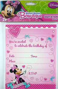 Minnie Mouse Birthday Party Invitations Pack 8 Plus Envelopes