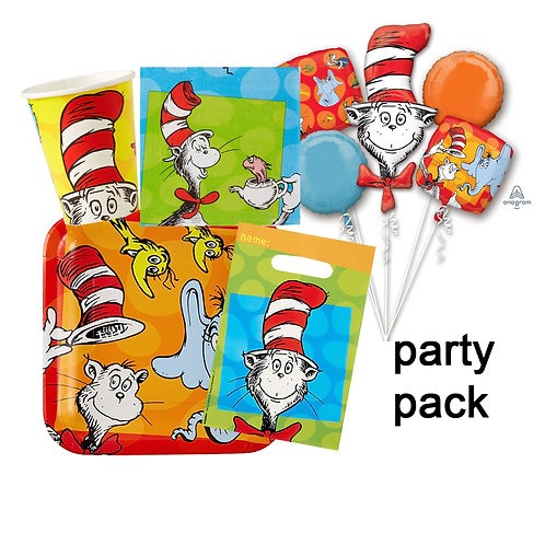 Dr Seuss Cat in the Hat party pack plates cups napkins loot bags and balloons