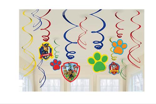 Paw Patrol hanging party swirl decorations