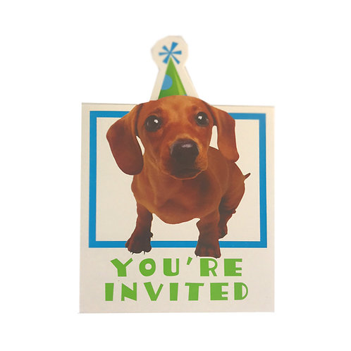 Party Pups themed invitations  pack 8 with envelopes