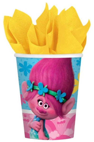 Trolls party disposable drink cups pack 8