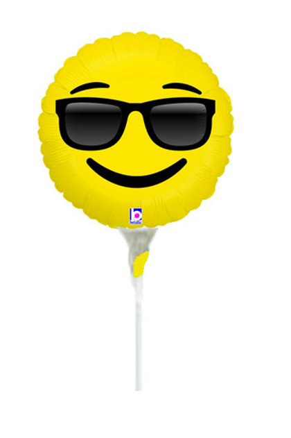 Emoji Mr Cool Sunnies balloon on a stick uninflated