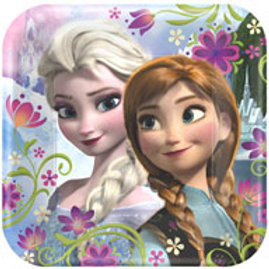 1 x pack of 8 Disney Frozen kids party plates Square