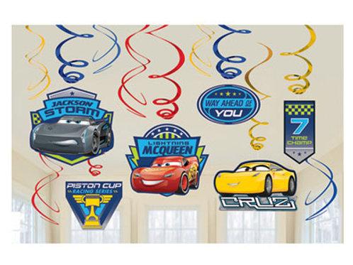 Disney Cars 3 hanging party decoration swirls pack 12   Kids Party Decorations   24-7 Party Paks