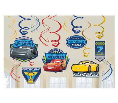 Disney Cars 3 Party Swirls Hanging Decorations Pack 12