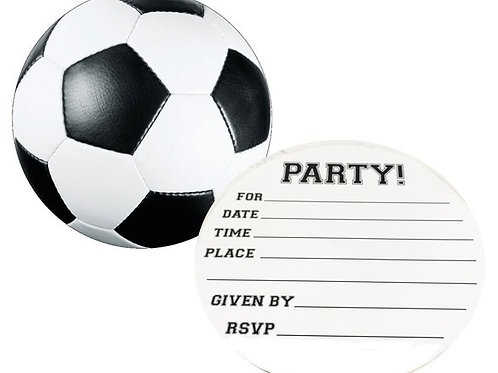 Soccer ball party invitation pack | Boys birthday party invites buy online delivered Australia Wide | 24-7 Party Paks