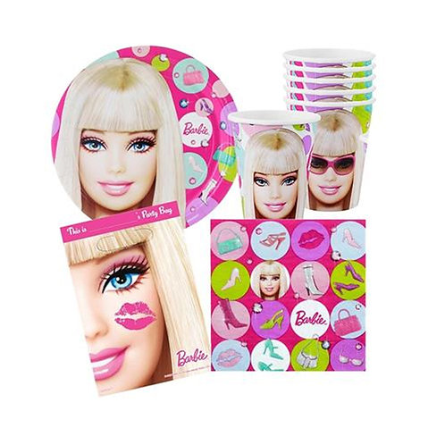 1 x pack 40 piece Barbie themed girls birthday party pack for 8 guests