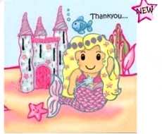 lovely chubblies mermaid theme thankyou cards pack 12