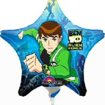 Ben 10 star shaped foil balloon with stick and cup to decorate your party table
