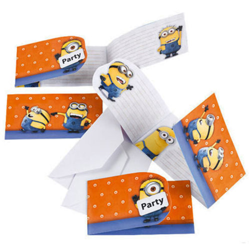 Minions birthday party invitations pack 6 plus envelopes | 24-7 Party Paks