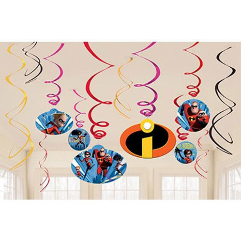 Incredibles party swirls - Hanging decorations pack 6