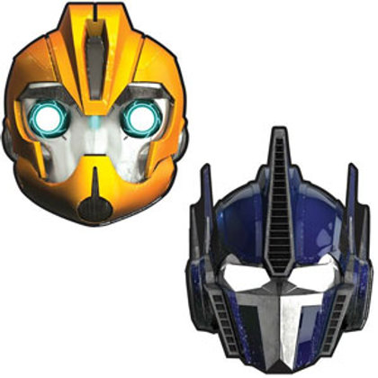 Transformers party masks pack 8 mixed designs Bumblebee & Optimus