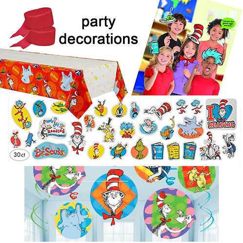 Cat in the Hat party decorations pack