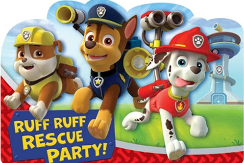 Paw Patrol birthday invitations pack 8