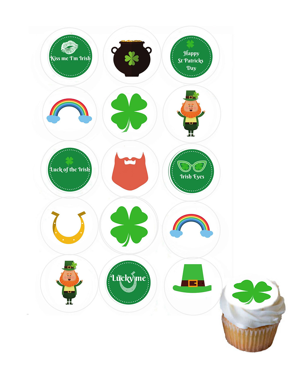Edible cupcake decorations St Patrick's Day party theme