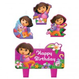 Dora the Explorer birthday cake candles set of 4   24-7 Party Paks