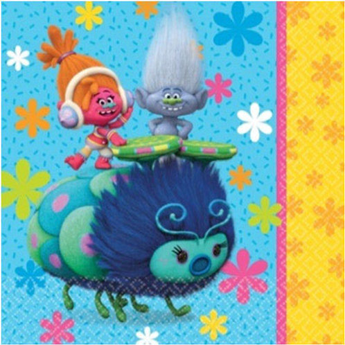 Trolls party disposable paper napkins large dinner size pack 8