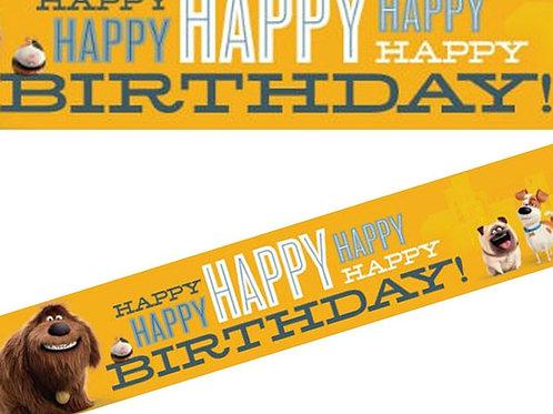 Secret Life of Pets birthday banner - plastic decoration strip
