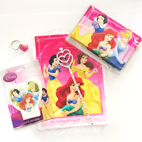 Disney Princess party pack | Disney Princess candle | disney princess loot bags | disney princess invites | 24-7 Party Paks