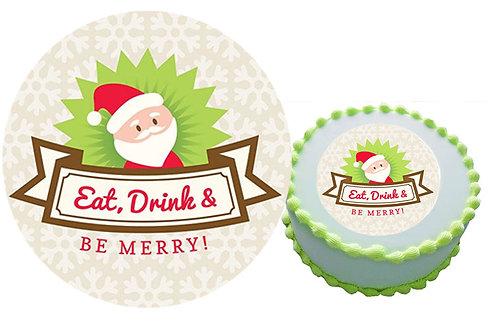 Christmas Santa cake topper Eat, Drink, Merry 16cm