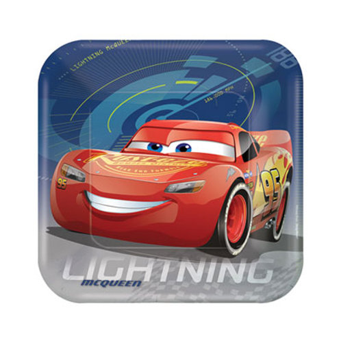 Disney Cars 3 Movie theme party plates features Lightning McQueen