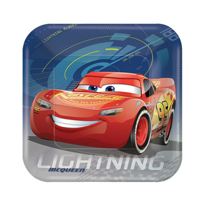 Disney Cars 3 Party Plates Square Lunch Size Pack 8
