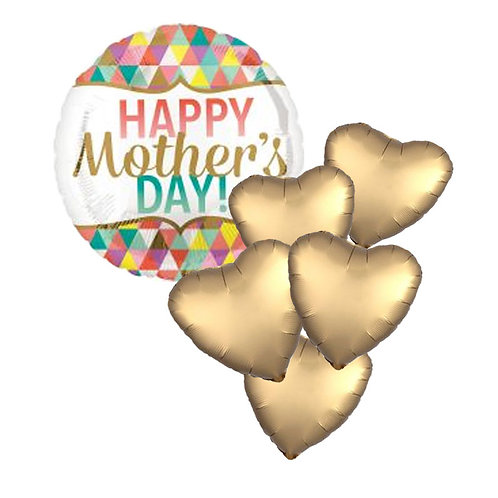 mothers day bunch of balloons | Happy Mother's Day foil balloons | gold heart shaped satin luxe foil balloons