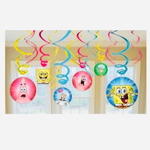Spongebob Squarepants hanging swirl party decorations pack 12
