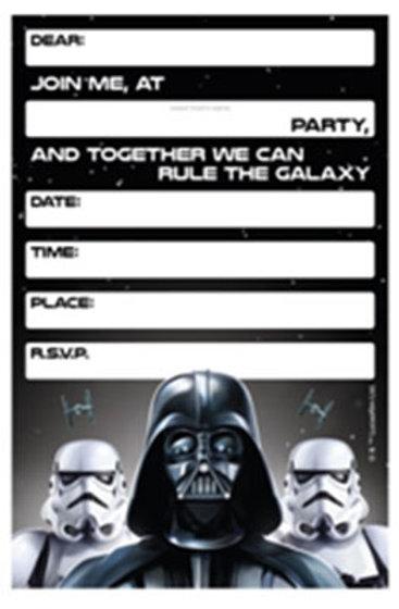 Star Wars Birthday Party Invitations Pack 8 Env
