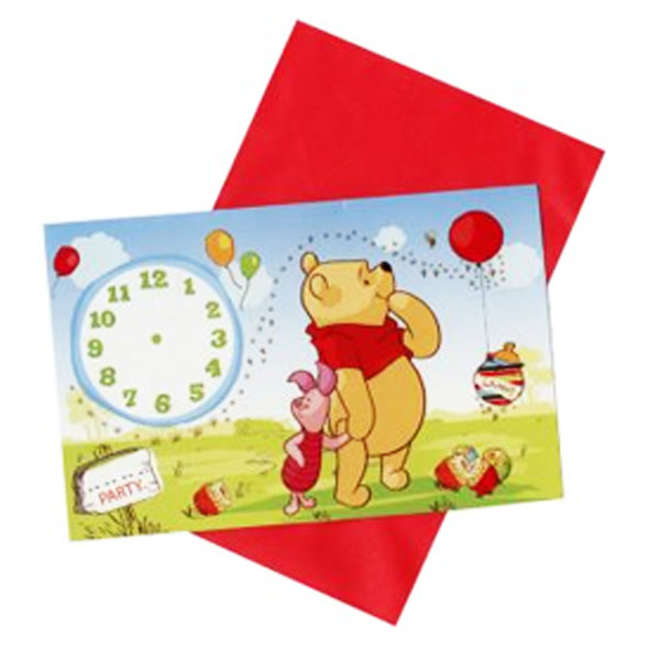 Winnie the Pooh birthday party invitations pack 6 including envelopes