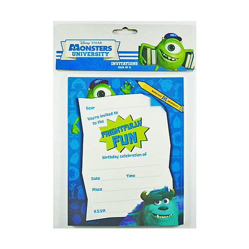 1 x pack of 8 Monsters University birthday party invitations plus envelopes