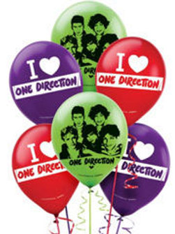One Direction 1D party balloons pk 6