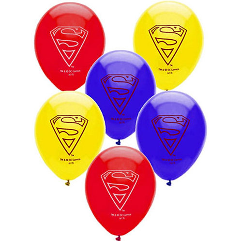 Superman party balloons pack 6 uninflated