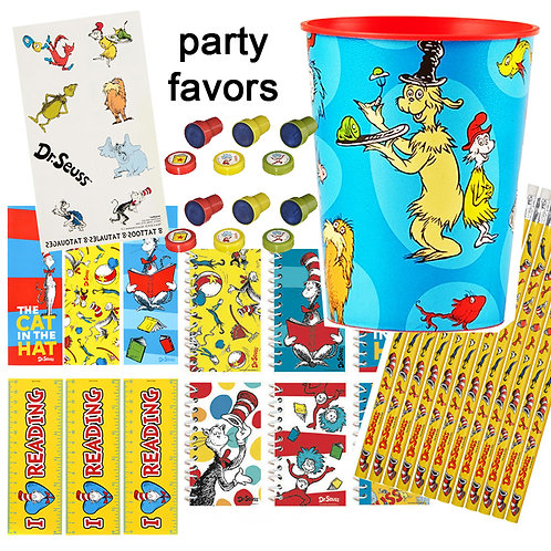 dr seuss cat in the hat party favor pack mixed favors - favor cups,pencils,stampers,bookmarks,notepads,temporary tattoos