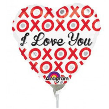 Valentines Day mini heart shaped foil balloon flat - i love you xoxo and stick