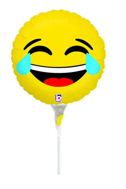 Emoji yellow Laugh out Loud mini foil balloon stick and cup uninflated 22 cm