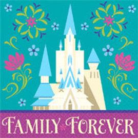 1 pack of 16 Disney Frozen party napkins - snack size